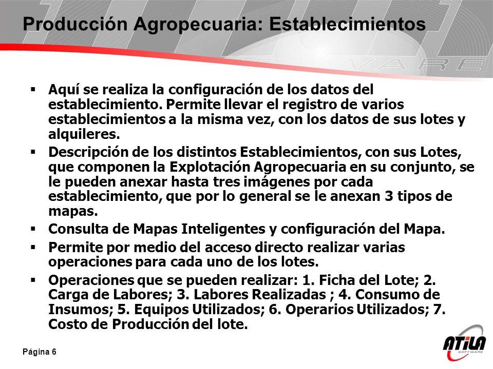 Producción Agropecuaria: Establecimientos Aquí se realiza la configuración de los datos del establecimiento. Permite llevar el registro de varios esta