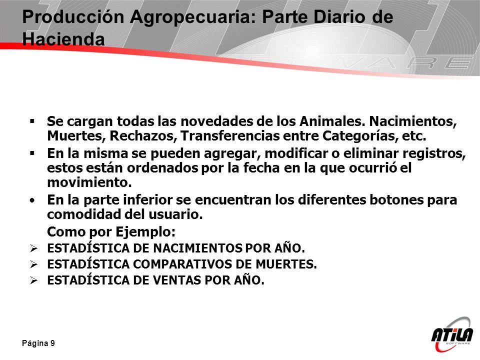 Producción Agropecuaria: Parte Diario de Hacienda Se cargan todas las novedades de los Animales. Nacimientos, Muertes, Rechazos, Transferencias entre