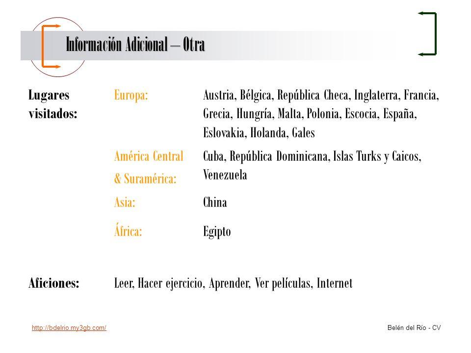http://bdelrio.my3gb.com/ Belén del Río - CV Información Adicional – Otra Lugares visitados: Europa:Austria, Bélgica, República Checa, Inglaterra, Fra