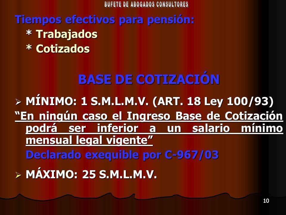 10 Tiempos efectivos para pensión: * Trabajados * Cotizados BASE DE COTIZACIÓN MÍNIMO: 1 S.M.L.M.V. (ART. 18 Ley 100/93) MÍNIMO: 1 S.M.L.M.V. (ART. 18