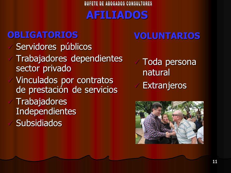 11AFILIADOSOBLIGATORIOS Servidores públicos Servidores públicos Trabajadores dependientes sector privado Trabajadores dependientes sector privado Vinc
