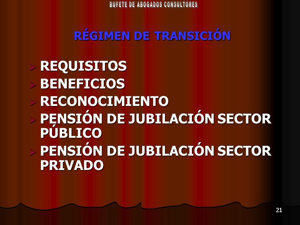 21 RÉGIMEN DE TRANSICIÓN REQUISITOS REQUISITOS BENEFICIOS BENEFICIOS RECONOCIMIENTO RECONOCIMIENTO PENSIÓN DE JUBILACIÓN SECTOR PÚBLICO PENSIÓN DE JUB