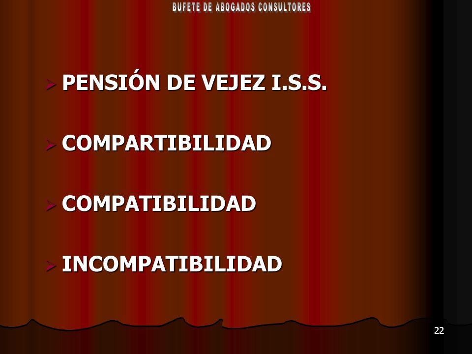 22 PENSIÓN DE VEJEZ I.S.S. PENSIÓN DE VEJEZ I.S.S. COMPARTIBILIDAD COMPARTIBILIDAD COMPATIBILIDAD COMPATIBILIDAD INCOMPATIBILIDAD INCOMPATIBILIDAD