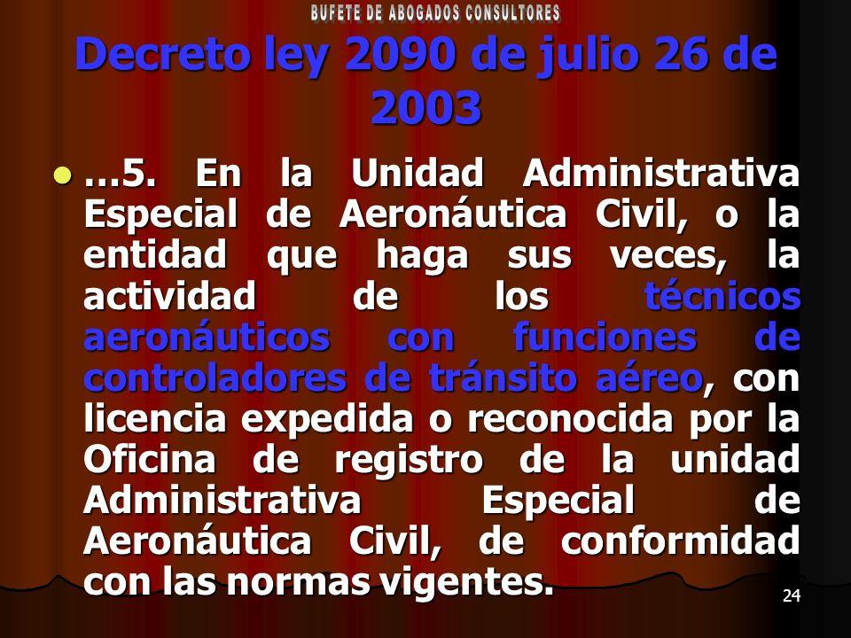 24 Decreto ley 2090 de julio 26 de 2003 …5. En la Unidad Administrativa Especial de Aeronáutica Civil, o la entidad que haga sus veces, la actividad d