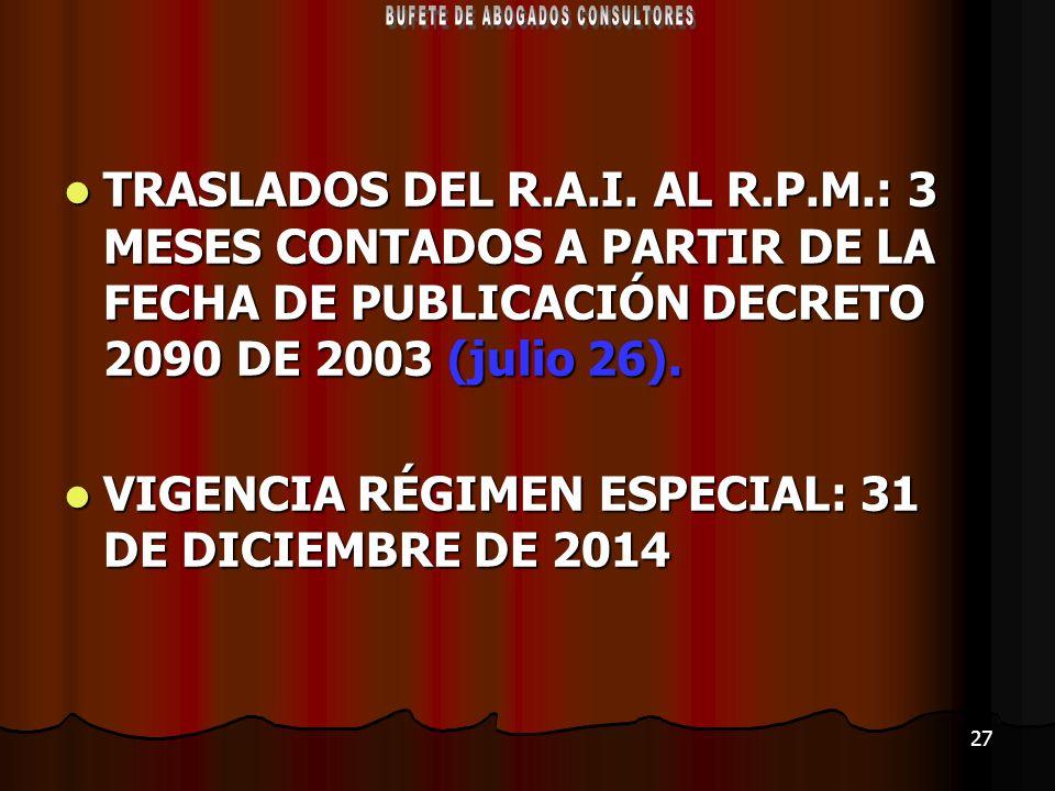 27 TRASLADOS DEL R.A.I. AL R.P.M.: 3 MESES CONTADOS A PARTIR DE LA FECHA DE PUBLICACIÓN DECRETO 2090 DE 2003 (julio 26). TRASLADOS DEL R.A.I. AL R.P.M