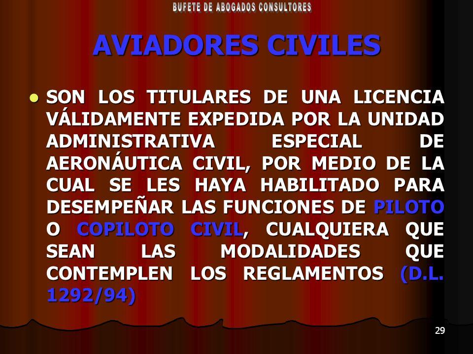 29 AVIADORES CIVILES SON LOS TITULARES DE UNA LICENCIA VÁLIDAMENTE EXPEDIDA POR LA UNIDAD ADMINISTRATIVA ESPECIAL DE AERONÁUTICA CIVIL, POR MEDIO DE L