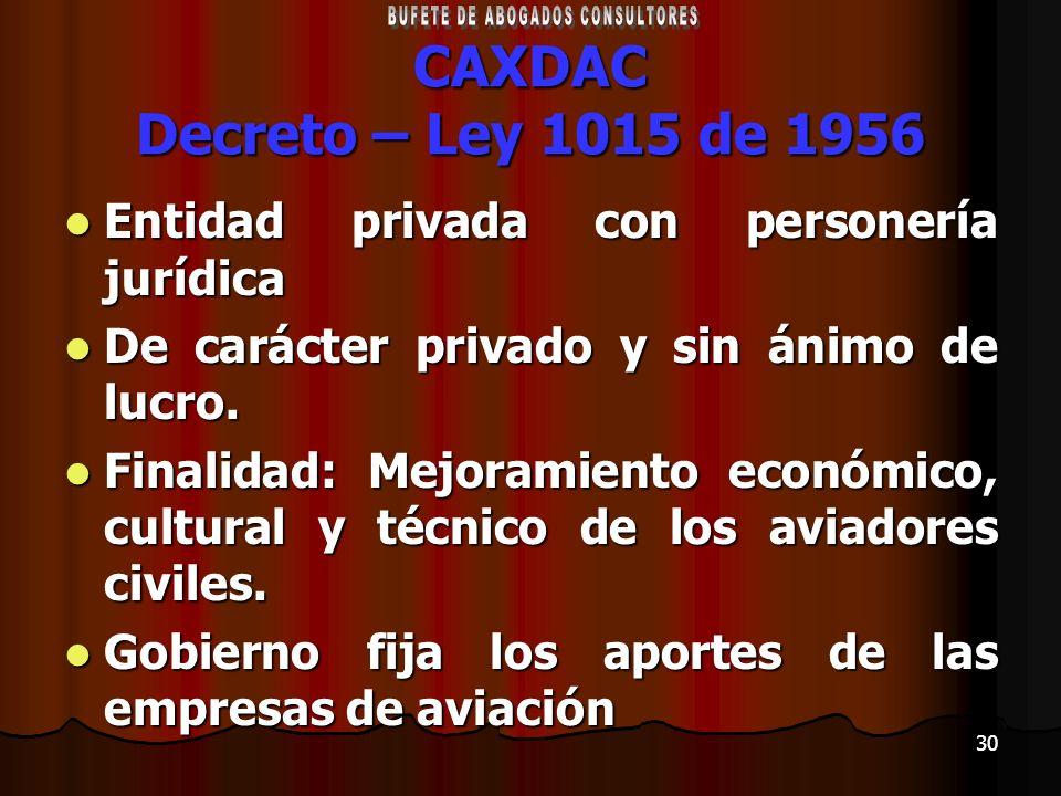 30 CAXDAC Decreto – Ley 1015 de 1956 Entidad privada con personería jurídica Entidad privada con personería jurídica De carácter privado y sin ánimo d