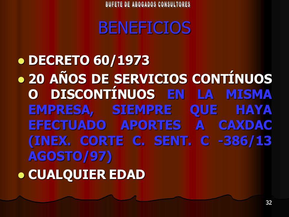 32 BENEFICIOS DECRETO 60/1973 DECRETO 60/1973 20 AÑOS DE SERVICIOS CONTÍNUOS O DISCONTÍNUOS EN LA MISMA EMPRESA, SIEMPRE QUE HAYA EFECTUADO APORTES A