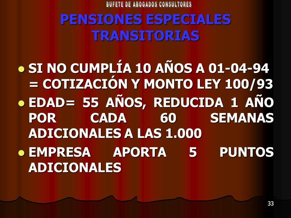 33 PENSIONES ESPECIALES TRANSITORIAS SI NO CUMPLÍA 10 AÑOS A 01-04-94 = COTIZACIÓN Y MONTO LEY 100/93 SI NO CUMPLÍA 10 AÑOS A 01-04-94 = COTIZACIÓN Y
