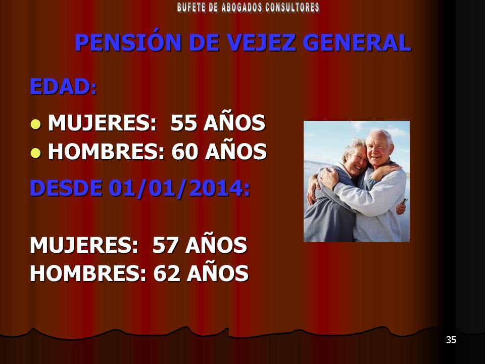 35 PENSIÓN DE VEJEZ GENERAL EDAD : MUJERES: 55 AÑOS MUJERES: 55 AÑOS HOMBRES: 60 AÑOS HOMBRES: 60 AÑOS DESDE 01/01/2014: MUJERES: 57 AÑOS HOMBRES: 62