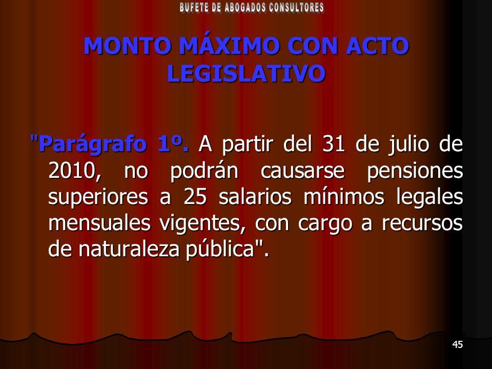 45 MONTO MÁXIMO CON ACTO LEGISLATIVO
