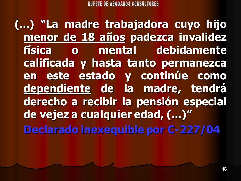 48 (...) La madre trabajadora cuyo hijo menor de 18 años padezca invalidez física o mental debidamente calificada y hasta tanto permanezca en este est