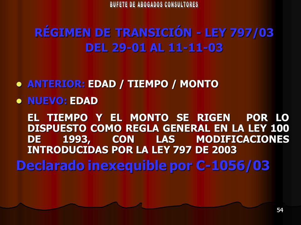 54 RÉGIMEN DE TRANSICIÓN - LEY 797/03 DEL 29-01 AL 11-11-03 ANTERIOR: EDAD / TIEMPO / MONTO ANTERIOR: EDAD / TIEMPO / MONTO NUEVO: EDAD NUEVO: EDAD EL