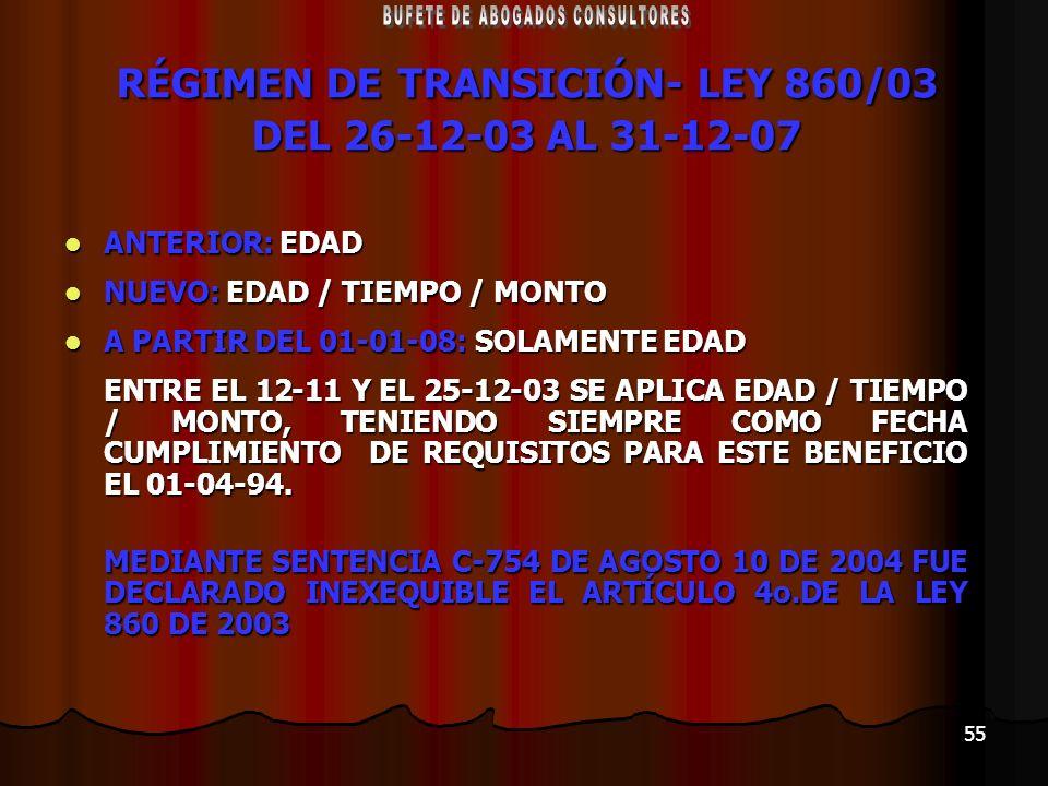 55 RÉGIMEN DE TRANSICIÓN- LEY 860/03 DEL 26-12-03 AL 31-12-07 ANTERIOR: EDAD ANTERIOR: EDAD NUEVO: EDAD / TIEMPO / MONTO NUEVO: EDAD / TIEMPO / MONTO