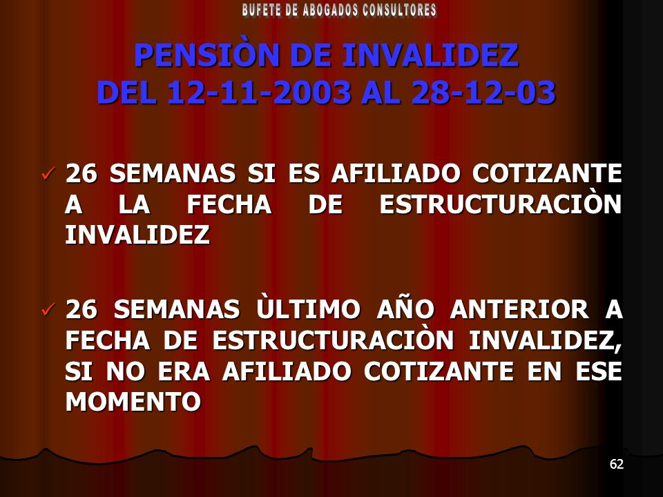 62 PENSIÒN DE INVALIDEZ DEL 12-11-2003 AL 28-12-03 26 SEMANAS SI ES AFILIADO COTIZANTE A LA FECHA DE ESTRUCTURACIÒN INVALIDEZ 26 SEMANAS SI ES AFILIAD