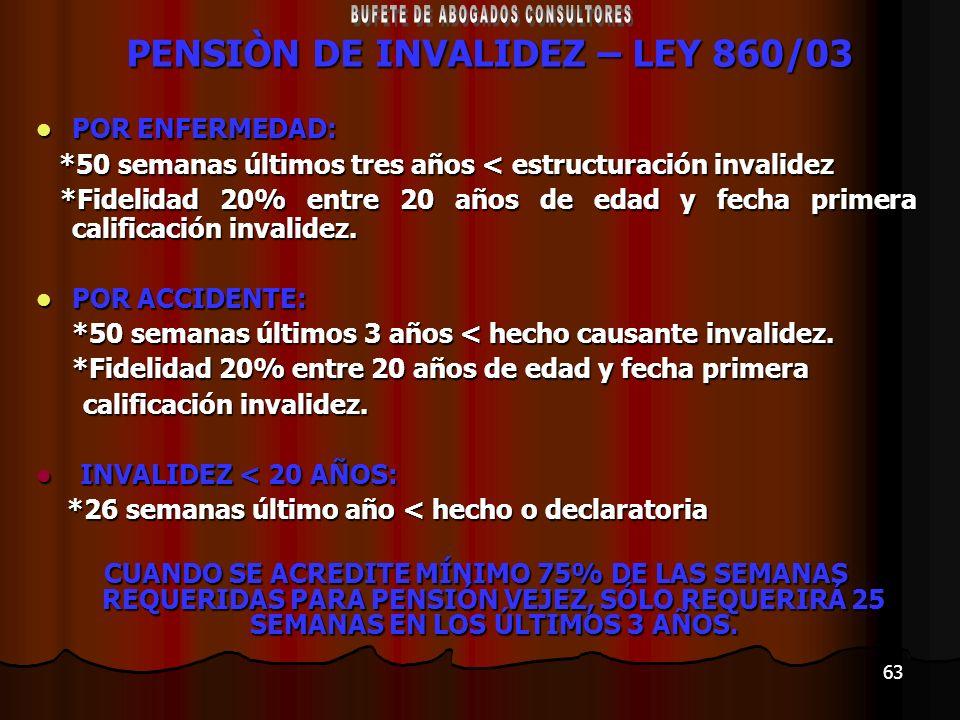 63 PENSIÒN DE INVALIDEZ – LEY 860/03 POR ENFERMEDAD: POR ENFERMEDAD: *50 semanas últimos tres años < estructuración invalidez *50 semanas últimos tres
