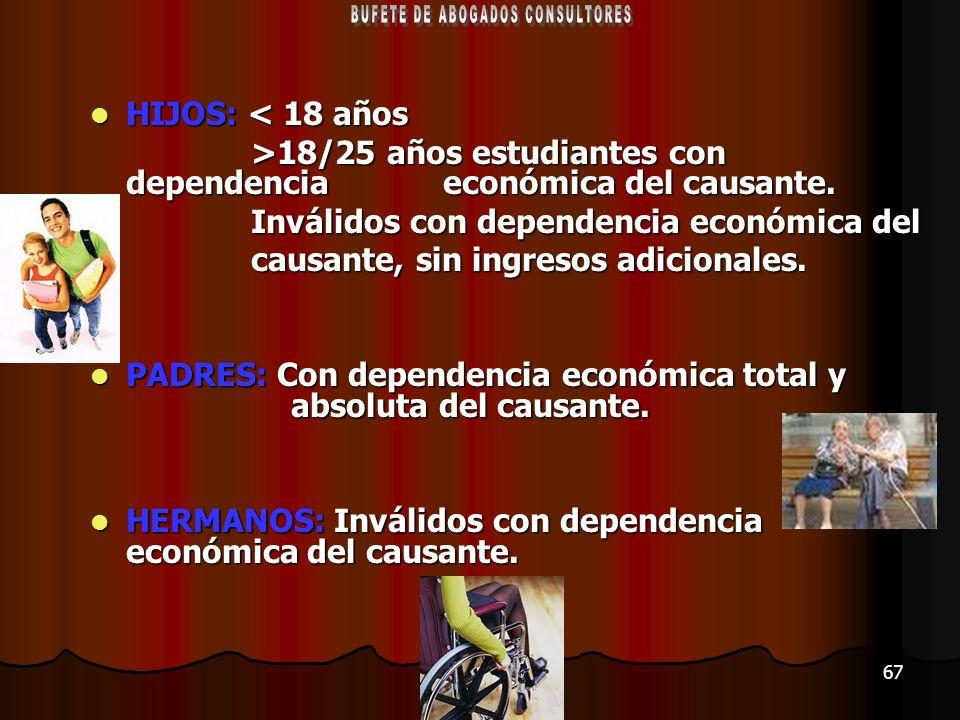 67 HIJOS: < 18 años HIJOS: < 18 años >18/25 años estudiantes con dependencia económica del causante. >18/25 años estudiantes con dependencia económica