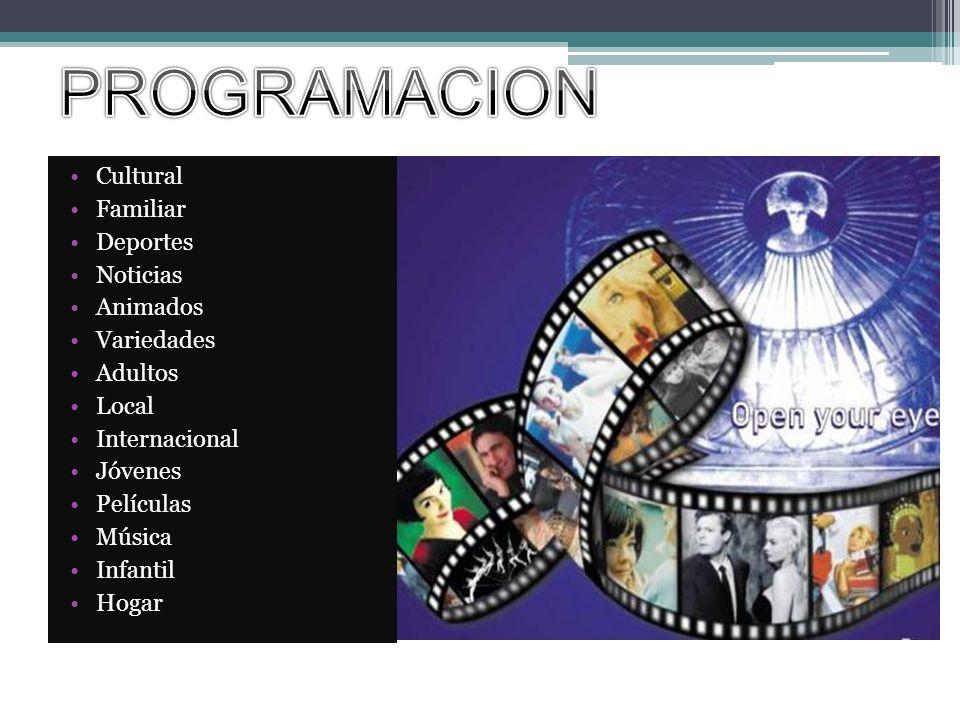 Cultural Familiar Deportes Noticias Animados Variedades Adultos Local Internacional Jóvenes Películas Música Infantil Hogar