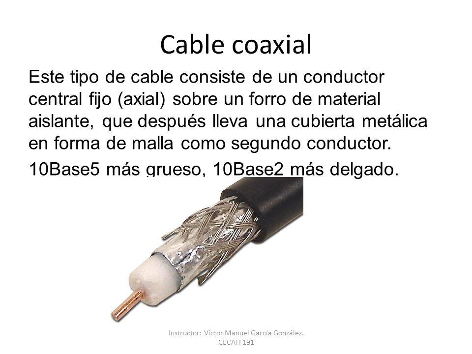 Cable coaxial Este tipo de cable consiste de un conductor central fijo (axial) sobre un forro de material aislante, que después lleva una cubierta met