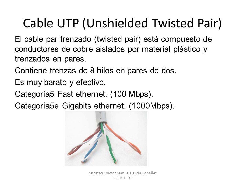 Cable UTP (Unshielded Twisted Pair) El cable par trenzado (twisted pair) está compuesto de conductores de cobre aislados por material plástico y trenz