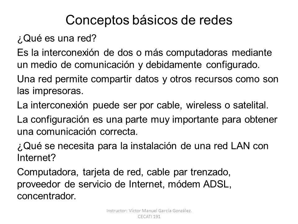 Conceptos básicos de redes ¿Qué es una red? Es la interconexión de dos o más computadoras mediante un medio de comunicación y debidamente configurado.