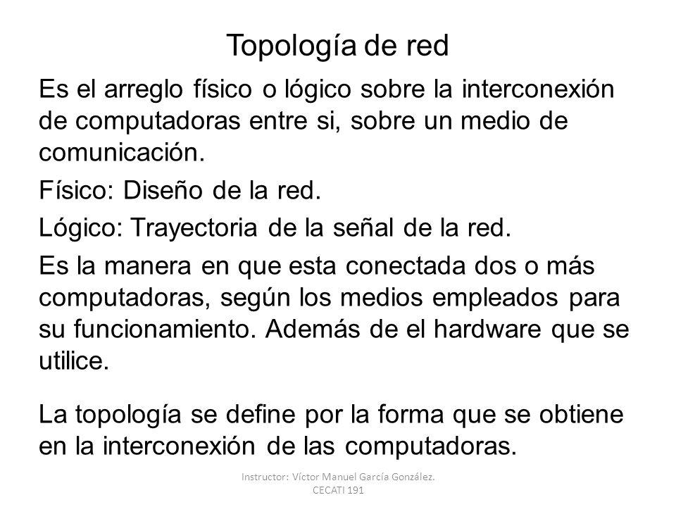 Topología de red Es el arreglo físico o lógico sobre la interconexión de computadoras entre si, sobre un medio de comunicación. Físico: Diseño de la r