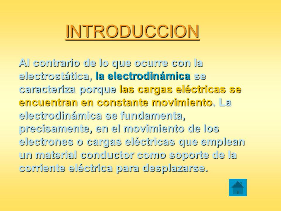 INTRODUCCION Al contrario de lo que ocurre con la electrostática, la electrodinámica se caracteriza porque las cargas eléctricas se encuentran en cons