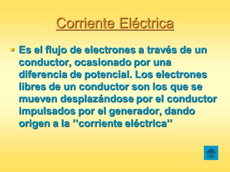 Corriente Eléctrica Es el flujo de electrones a través de un conductor, ocasionado por una diferencia de potencial. Los electrones libres de un conduc