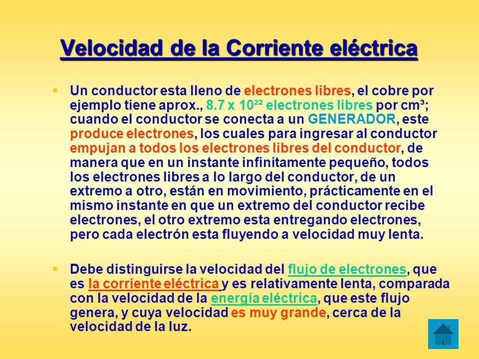 Velocidad de la Corriente eléctrica Un conductor esta lleno de electrones libres, el cobre por ejemplo tiene aprox., 8.7 x 10²² electrones libres por