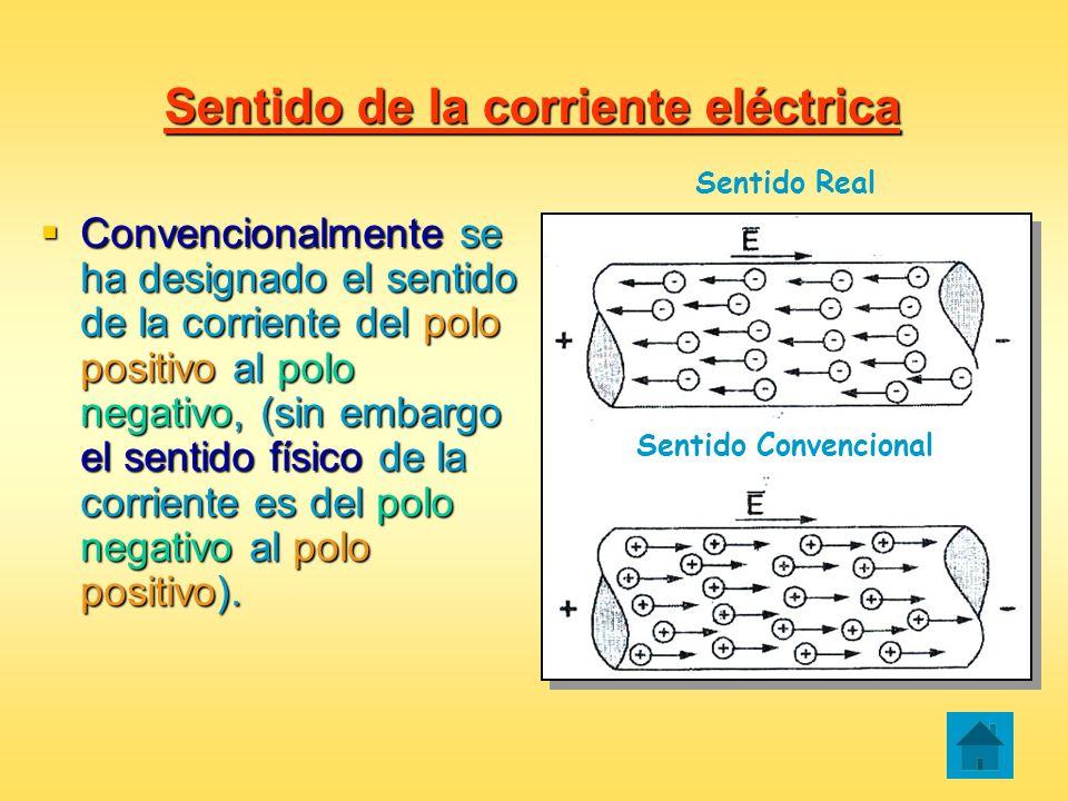 Sentido de la corriente eléctrica Convencionalmente se ha designado el sentido de la corriente del polo positivo al polo negativo, (sin embargo el sen