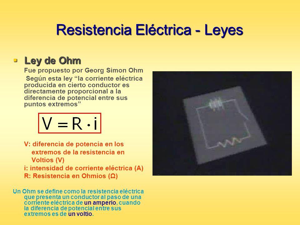 Resistencia Eléctrica - Leyes Ley de Ohm Ley de Ohm Fue propuesto por Georg Simon Ohm Según esta ley la corriente eléctrica producida en cierto conduc
