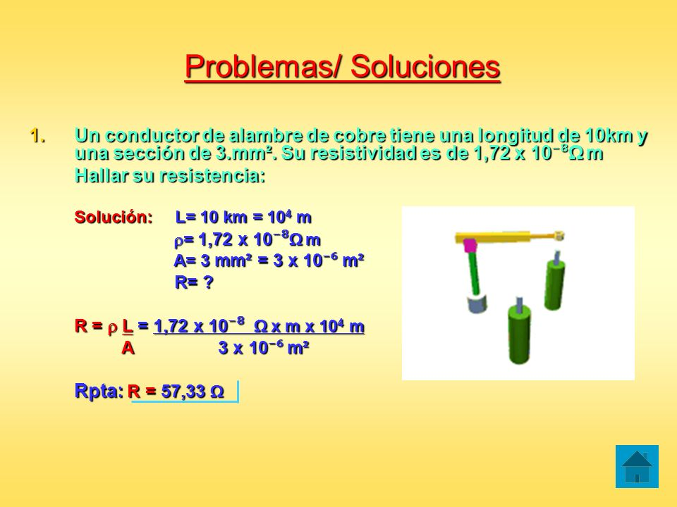 Problemas/ Soluciones 1.Un conductor de alambre de cobre tiene una longitud de 10km y una sección de 3.mm². Su resistividad es de 1,72 x 10 m Hallar s
