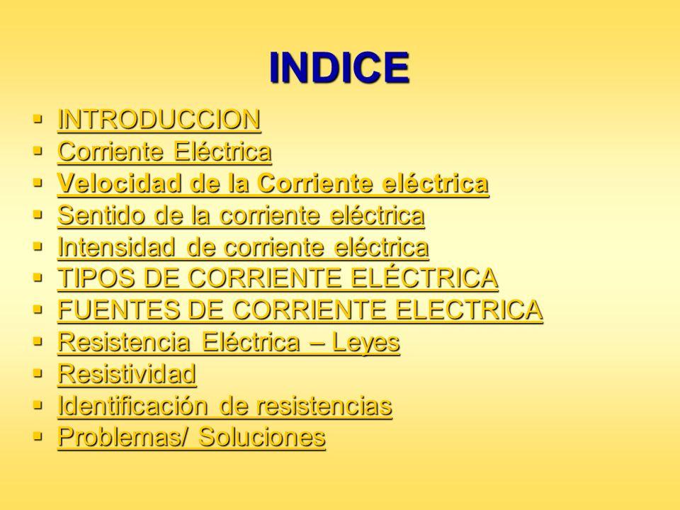 INDICE INTRODUCCION INTRODUCCION INTRODUCCION Corriente Eléctrica Corriente Eléctrica Corriente Eléctrica Corriente Eléctrica Velocidad de la Corrient