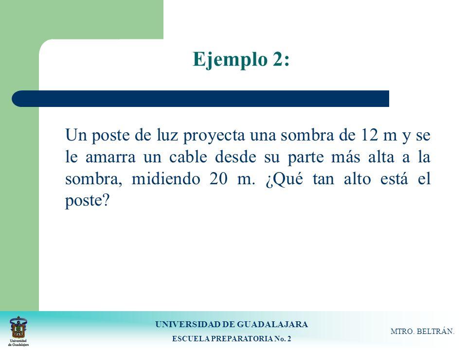 UNIVERSIDAD DE GUADALAJARA ESCUELA PREPARATORIA No. 2 MTRO. BELTRÁN. Ejemplo 2: Un poste de luz proyecta una sombra de 12 m y se le amarra un cable de