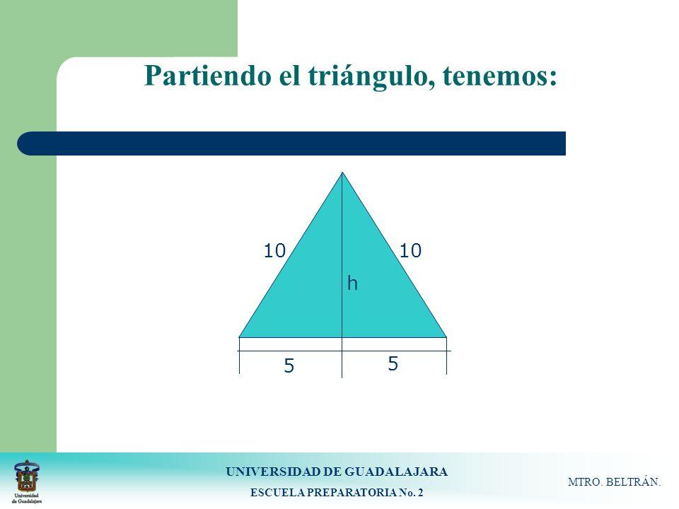 UNIVERSIDAD DE GUADALAJARA ESCUELA PREPARATORIA No. 2 MTRO. BELTRÁN. Partiendo el triángulo, tenemos: 10 h 5 5