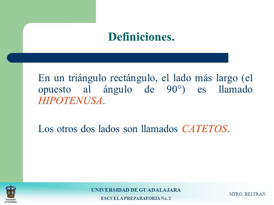 UNIVERSIDAD DE GUADALAJARA ESCUELA PREPARATORIA No. 2 MTRO. BELTRÁN. Definiciones. En un triángulo rectángulo, el lado más largo (el opuesto al ángulo