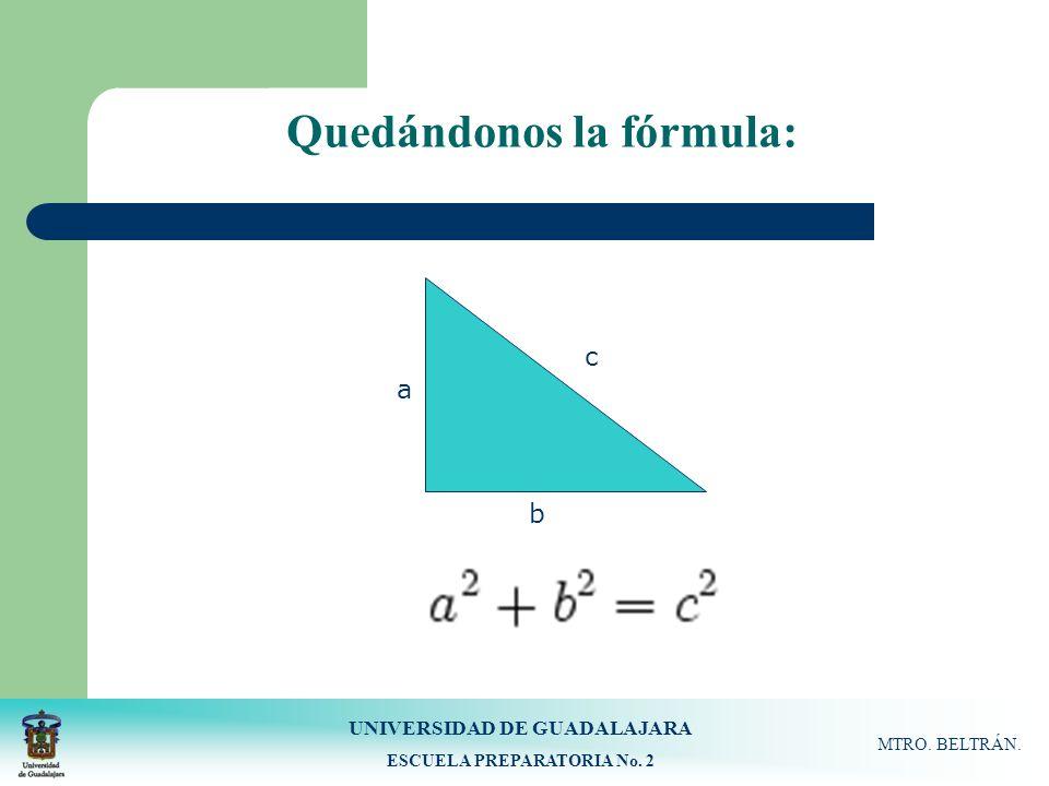UNIVERSIDAD DE GUADALAJARA ESCUELA PREPARATORIA No. 2 MTRO. BELTRÁN. Quedándonos la fórmula: c b a