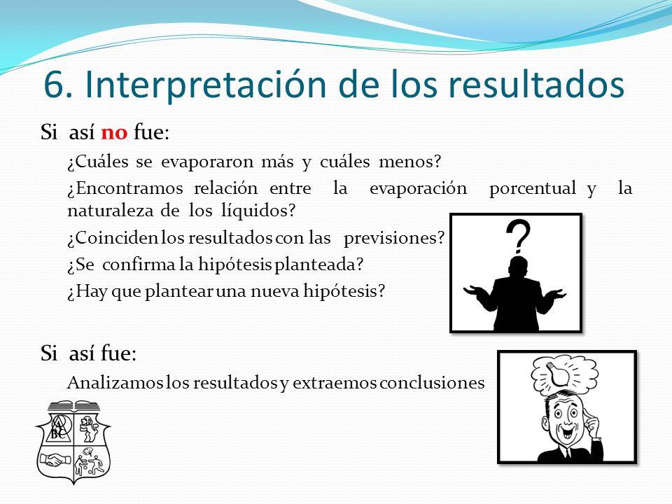 6.Interpretación de los resultados Si así no fue: ¿Cuáles se evaporaron más y cuáles menos.