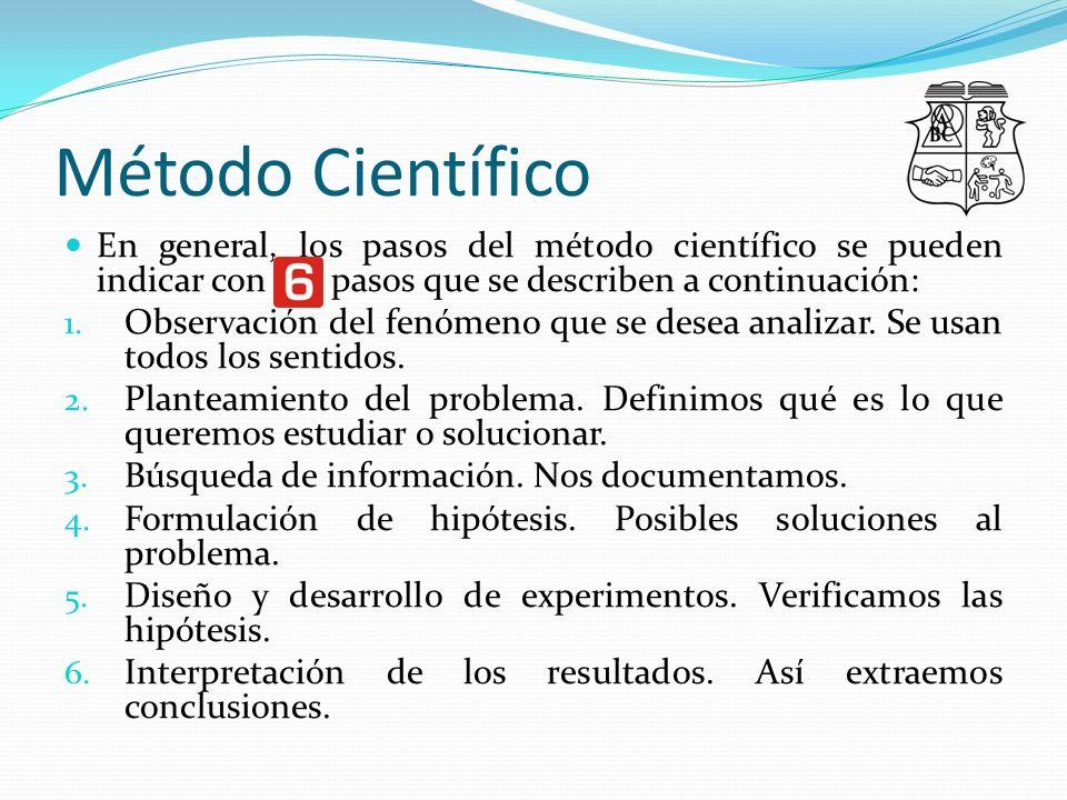 Método Científico En general, los pasos del método científico se pueden indicar con sei pasos que se describen a continuación: 1.