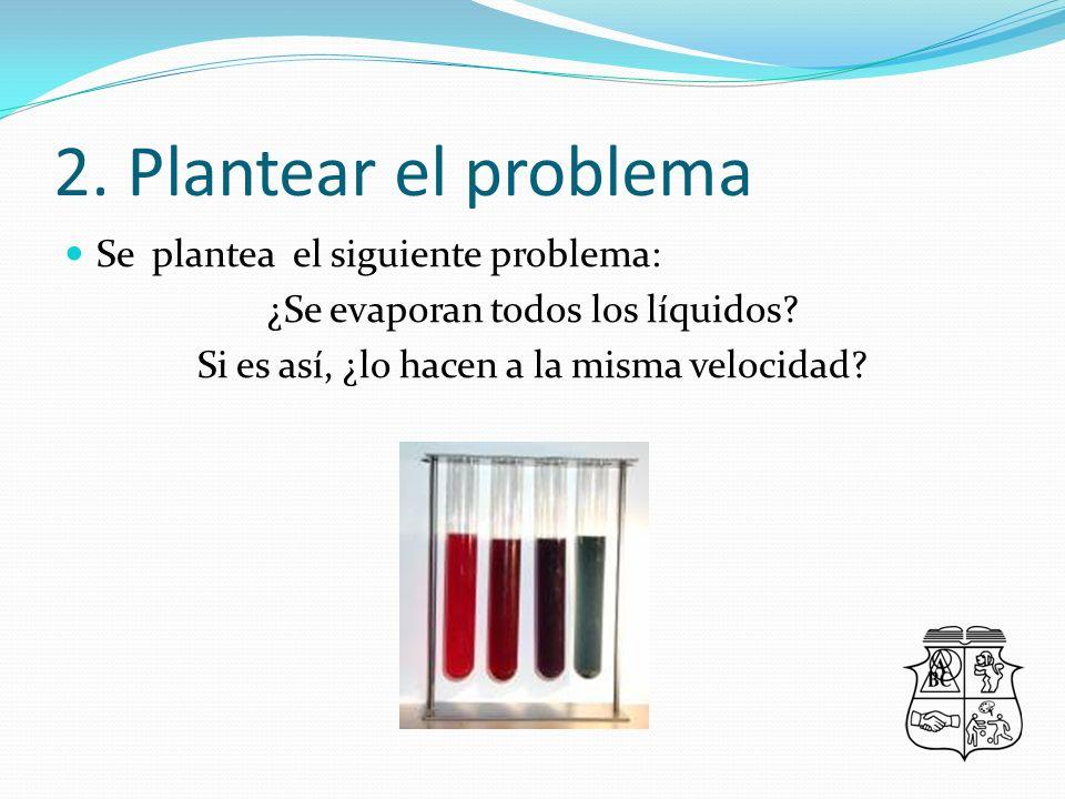 2.Plantear el problema Se plantea el siguiente problema: ¿Se evaporan todos los líquidos.