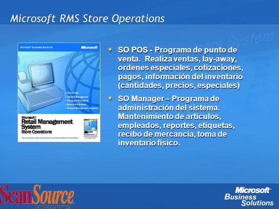 Microsoft RMS Store Operations SO POS - Programa de punto de venta. Realiza ventas, lay-away, ordenes especiales, cotizaciones, pagos, información del