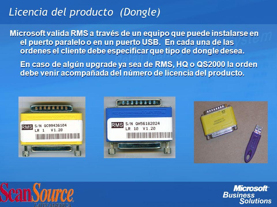 Licencia del producto (Dongle) Microsoft valida RMS a través de un equipo que puede instalarse en el puerto paralelo o en un puerto USB. En cada una d