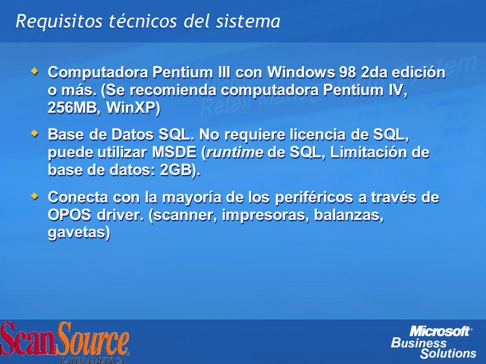 Requisitos técnicos del sistema Computadora Pentium III con Windows 98 2da edición o más. (Se recomienda computadora Pentium IV, 256MB, WinXP) Base de