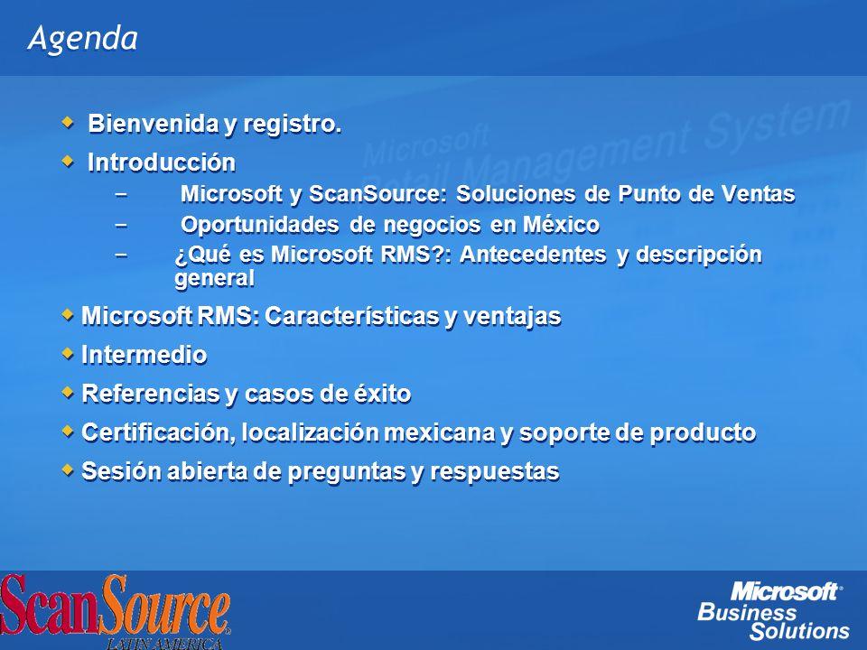 Agenda Bienvenida y registro. Introducción – Microsoft y ScanSource: Soluciones de Punto de Ventas – Oportunidades de negocios en México – ¿Qué es Mic