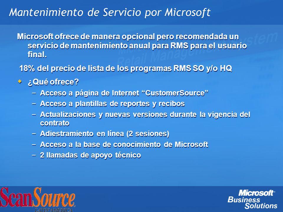 Mantenimiento de Servicio por Microsoft Microsoft ofrece de manera opcional pero recomendada un servicio de mantenimiento anual para RMS para el usuar