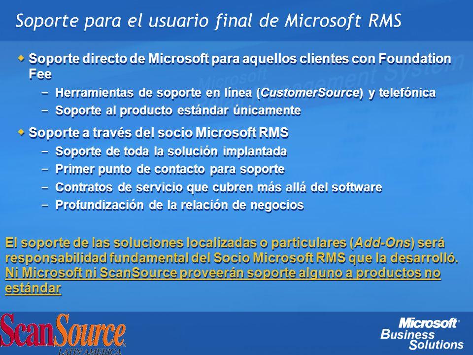 Soporte para el usuario final de Microsoft RMS Soporte directo de Microsoft para aquellos clientes con Foundation Fee – Herramientas de soporte en lín
