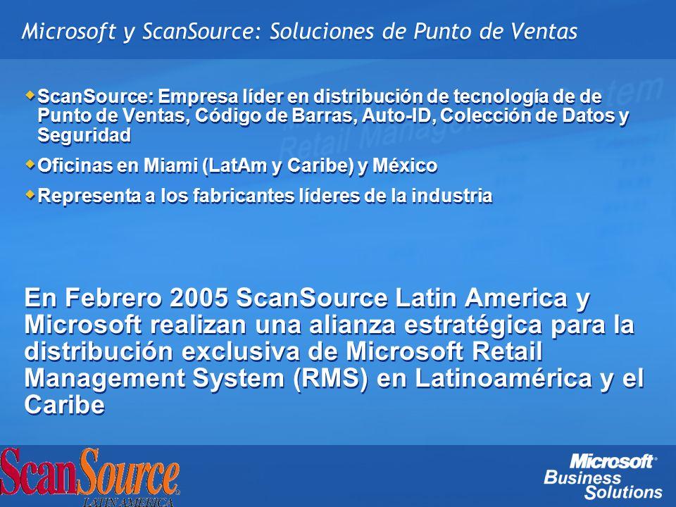 Certificación de Revendedor Completar formulario de Registro de Socio Microsoft RMS – Formatos disponibles en página web de ScanSource Latin America – Si ya es Socio MBS, se agrega RMS en su lista de productos Envío de Número de Cuenta MBS – Paquete de Bienvenida RMS con versión NFR de 3 usuarios Entrenamiento Tomar un examen de certificación (SO & HQ) Especificaciones del examen 35% POS tópicos y transacciones 20% SO Manager 20% Inventario 15% Instalación 10% Configuración de la tienda y de las registradoras Centros de examen: www.vue.com/mbs www.prometric.comwww.vue.com/mbswww.prometric.com Posibilidad de Outsourcing para clientes no certificados Completar formulario de Registro de Socio Microsoft RMS – Formatos disponibles en página web de ScanSource Latin America – Si ya es Socio MBS, se agrega RMS en su lista de productos Envío de Número de Cuenta MBS – Paquete de Bienvenida RMS con versión NFR de 3 usuarios Entrenamiento Tomar un examen de certificación (SO & HQ) Especificaciones del examen 35% POS tópicos y transacciones 20% SO Manager 20% Inventario 15% Instalación 10% Configuración de la tienda y de las registradoras Centros de examen: www.vue.com/mbs www.prometric.comwww.vue.com/mbswww.prometric.com Posibilidad de Outsourcing para clientes no certificados