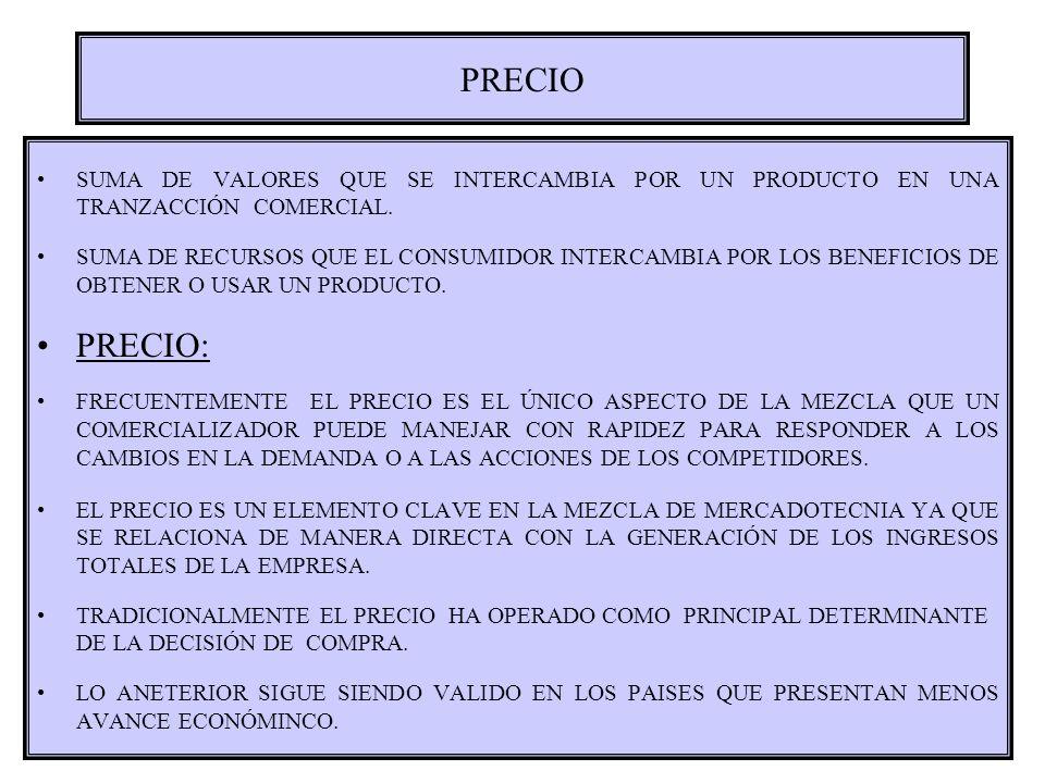 PRECIO SUMA DE VALORES QUE SE INTERCAMBIA POR UN PRODUCTO EN UNA TRANZACCIÓN COMERCIAL. SUMA DE RECURSOS QUE EL CONSUMIDOR INTERCAMBIA POR LOS BENEFIC