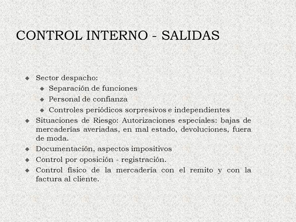 CONTROL INTERNO - SALIDAS Sector despacho: u Separación de funciones u Personal de confianza u Controles periódicos sorpresivos e independientes Situa