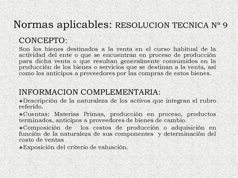 Normas aplicables: RESOLUCION TECNICA Nº 9 CONCEPTO: Son los bienes destinados a la venta en el curso habitual de la actividad del ente o que se encue